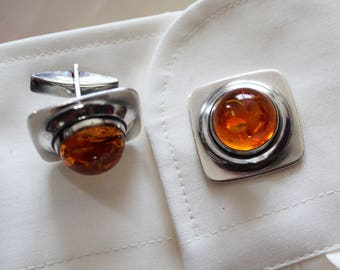 Vintage Cuff links faux baltic Amber Silver 835