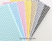 Geometric Triangle Cotton Fabric in Khaki Pink Yellow Aqua Green Blue Grey Black & White For Quilt Cloth-  1/2 Yard
