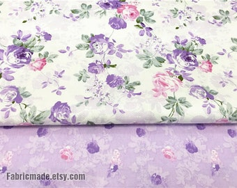 Purple Lilac Flower Cotton fabric/ Purple Rose Flower Cotton Quilting Fabric- 1/2 Yard