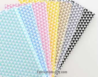 Geometric Triangle Cotton Fabric in Khaki Pink Yellow Aqua Green Blue Grey Black & White For Quilt Cloth-  1/2 Yard