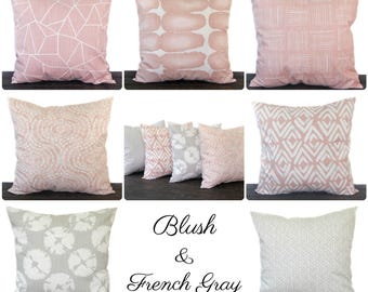 Pillow, Throw Pillow, Pillow Cover, Cushion, Decorative Pillow, Blush Pink French Light Gray Slub Canvas