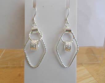Silver Tone Hoop Earrings with Silver Circle Charm Dangles