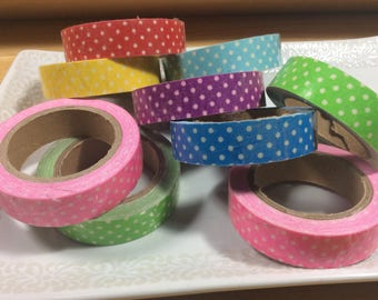 Polk a Dot Fabric Tape White Polk a Dots with Pink, Blue, Red, Yellow, Baby Blue and Green