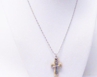 Small Sliver Plated Cross on Wood Cross Pendant Necklace