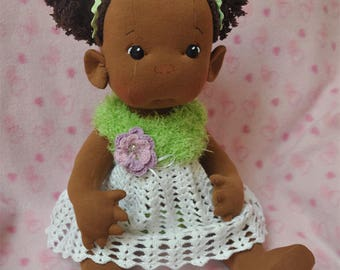 """Fretta's Peanut Baby Doll.  18"""" / 46 cm. Dark Skin Textile Baby Girl. Cloth Baby. Natural Soft Sculpted Jointed Baby, Child Safe Cloth Doll"""