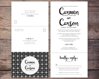 Printable Classic Black and White Seal and Send Wedding Invite, Send N' Seal Wedding Invitation, All in one invitation - Carmen
