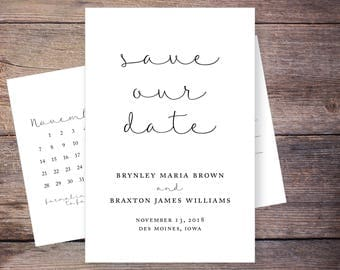 Save the Date Postcard, Save-the-Date Card, Calendar, Photo, DIY Printable, Digital File – Brynley