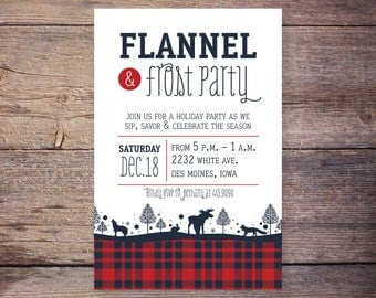 Flannel and Frost Christmas Party Invitation, Holiday Party Invite, Printable Invitation, Print at Home Invites