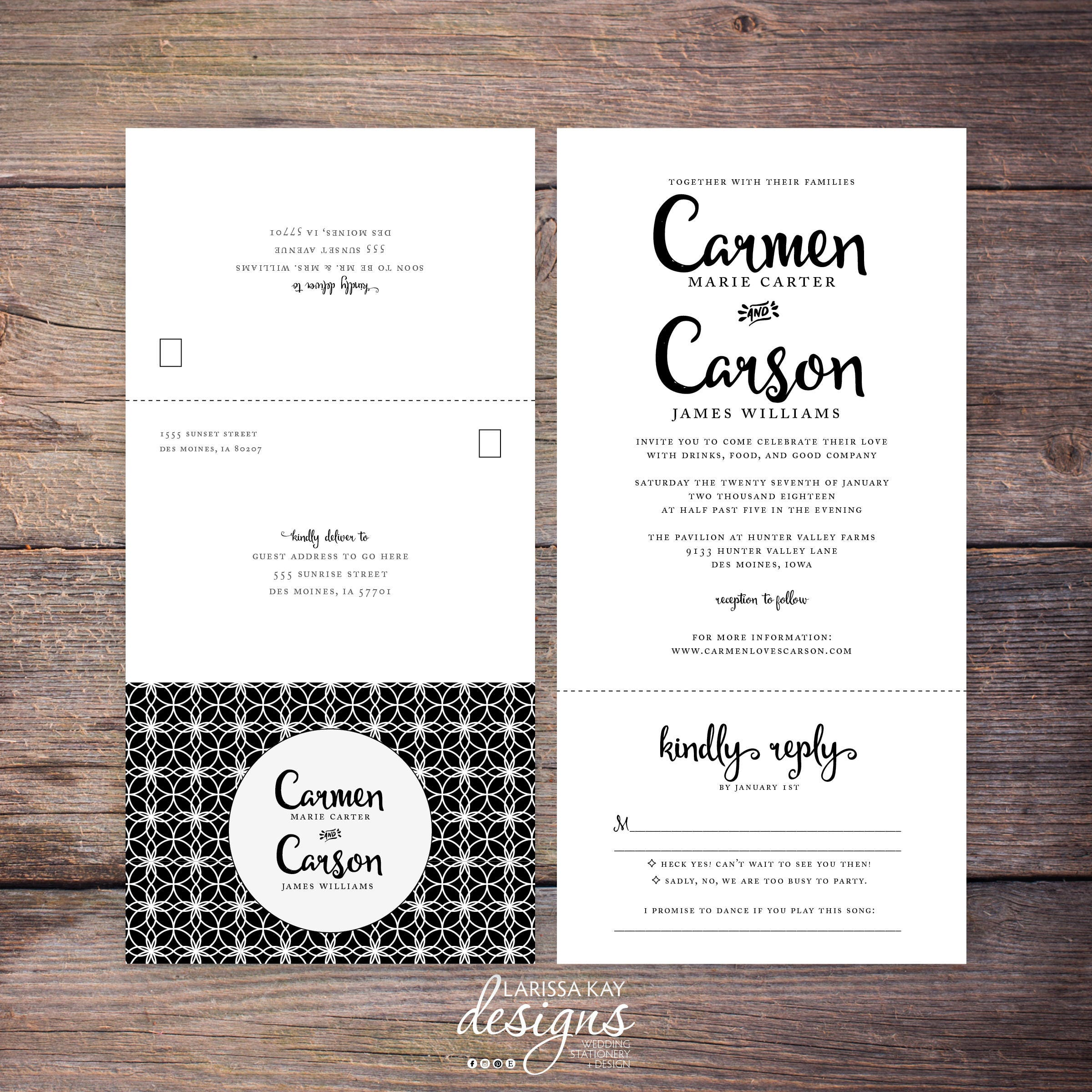 Printable Classic Black And White Seal Send Wedding Invite N