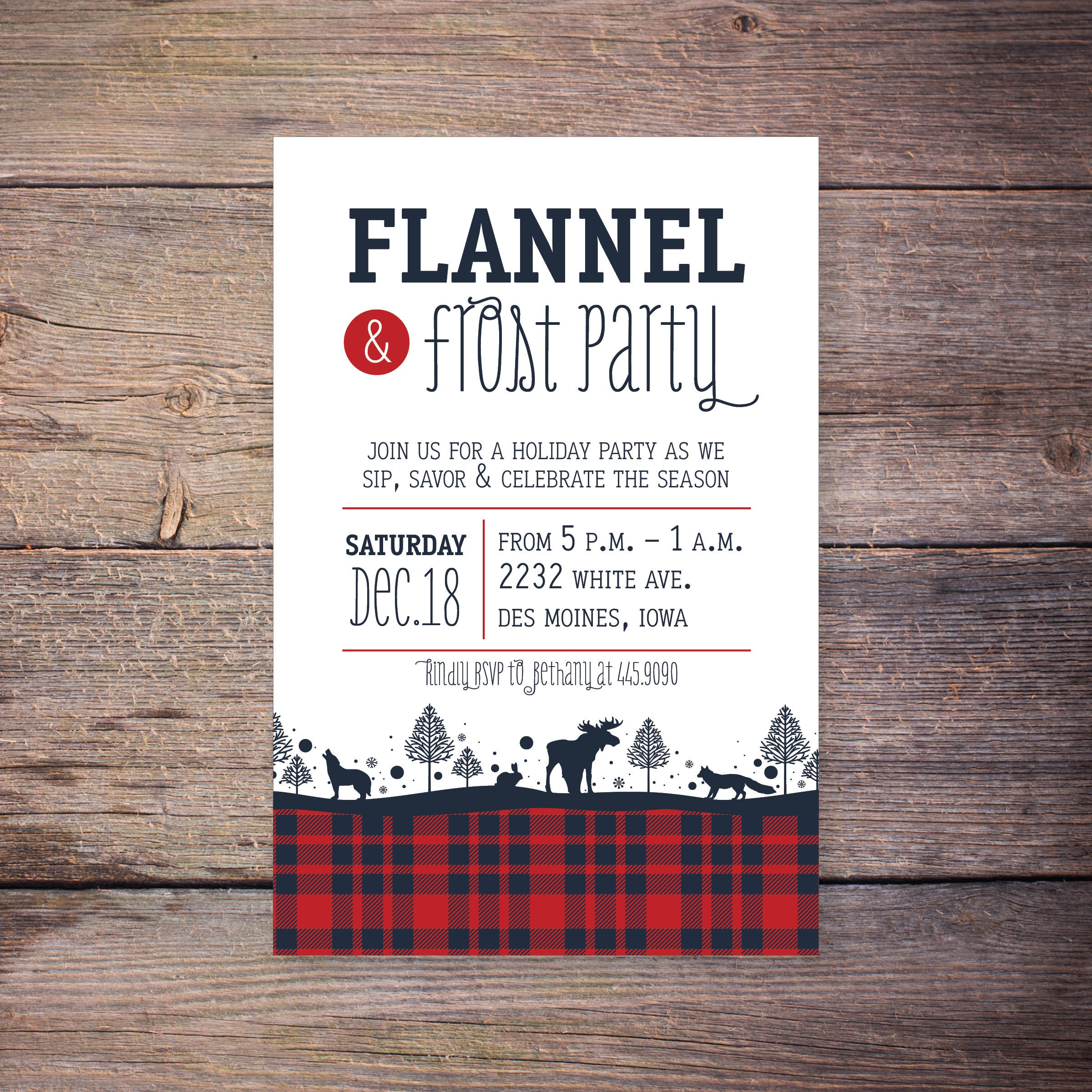 Flannel and Frost Christmas Party Invitation Holiday Party