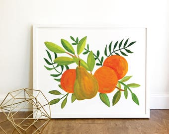 8x10 Printable Oranges and Pear Painting