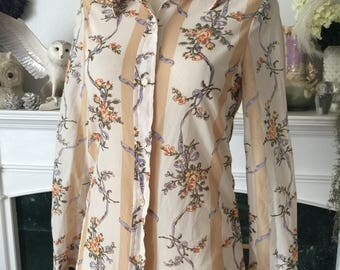 70s Ship N Shore thin Summer Floral Blouse