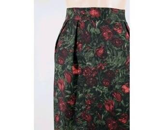 1950 french roses wool skirt xs/50s printed skirt