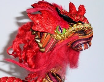 Red gold chinese dragon cloth sculpture