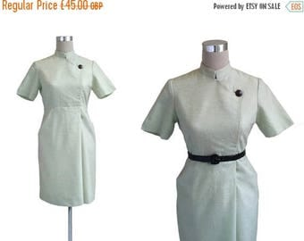 On Sale Amazing 1960's Dress - Fitted 60's Vintage Dress - Mint Green Dress - Nehru Collar Dress