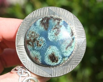 Vintage Ruskin Type Large Blue & Green Cabochon Pewter Brooch Very Stylish