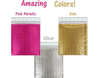 "8""x 12"" (12 Pack)  Hot Pink Metallic, Gold,  Silver Metallic Bubble Mailers, Self Seal Padded Envelopes, Colored Rigid Shipping Envelopes #2"