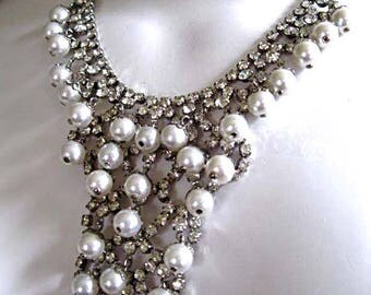 Rhinestone Cascade Bib Necklace, White Faux Pearls Waterfall, Winter Bride Wedding, Vintage Silver Fringe Necklace, Dangle Clip Earrings