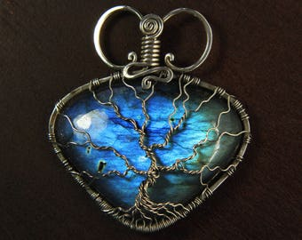 Blue Labradorite Tree of life pendant 'Lagoon' Sterling silver jewelry necklace - Yggdrasil - Family tree - Healing crystals - Birthstone
