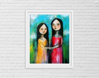 Sister Artwork, Sister Gift, Sisters, Sisters Artwork, Sisters Wall Art, Gift for Sister, Soul Sisters, Sister Friends, Best Friends, BFF,