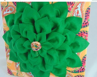 BACK to SCHOOL SALE Paisley and Green Flower Wall Art