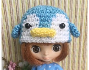 """Doll Hat for Lati White & Petite Blythe : """"Blue Penguin Hat"""" (Crochet Hat)"""