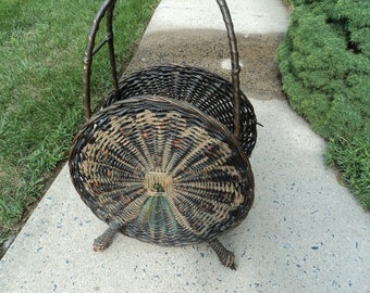 Antique wicker basket for holding wood from the Victorian period/Mint condition