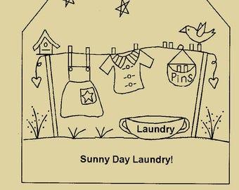 """Primitive Stitchery E-Pattern """"Sunny Day Laundry""""! Large Tag"""