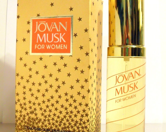 Vintage 1990s Jovan Musk for Women by Coty 2 oz Cologne Concentrate Spray and Box PERFUME
