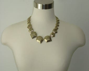 Chunky Brass Link Necklace - Fashion Jewellery - Antiqued Gold Tone  -1990s