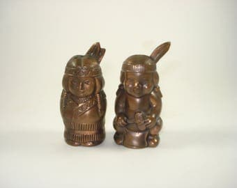 Salt and Pepper Shakers - Copper Native American  -  1960s Servingware Table