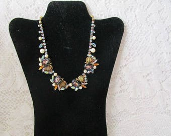 Alice Caviness necklace art glass faux peal and aurora borealis