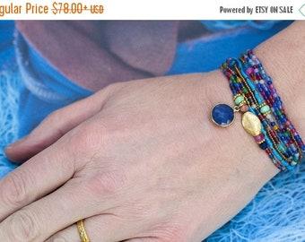 SPRING SALE Sapphire Bracelet, Beaded Wrap Bracelet, Multi Wrap Bracelet, Agate Bracelet, Boho Bracelet, Stretch Bracelet, Charm Bracelet, G