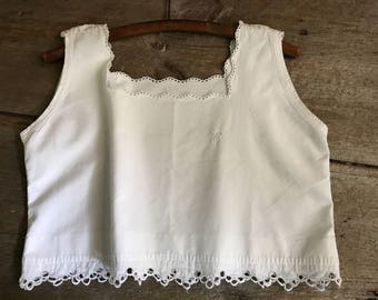 French White Linen Camisole, Monogrammed, Lace Work, Bodice, Project Piece, Crop Top, French Farmhouse