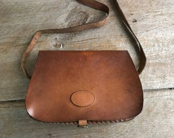 Leather Crossbody Bag, Brown Leather Cartridge Bag, Saddlebag, Artisan Handbag, Satchel