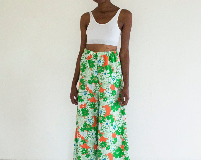 60s 70s Floral Elephant Bell Bottoms