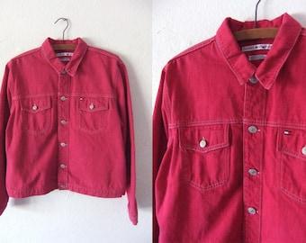 Tommy Hilfiger Magenta Denim Jacket - 90s Preppy Minimal Retro Vintage Jean Jacket - Womens Medium
