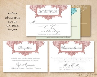 Printable Wedding Enclosure Cards - Antique Oval Frame - 3.5x5 - R.S.V.P. Response Reception Accommodations Lodging Other Cards