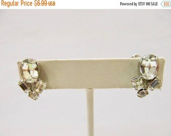 ON SALE Vintage Prong Set Sparkling Rhinestone Earrings Item K # 734