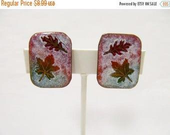 ON SALE Vintage Modernist Copper Enameled Leaf Earrings Item K # 2476