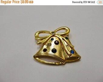ON SALE Vintage Rhinestone Christmas Bell Pin Item K # 2939