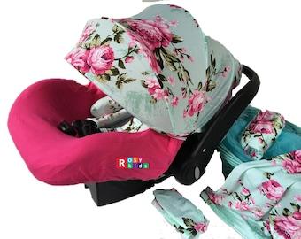 infant car seat cover canopy blanket turquoise blue floral. Black Bedroom Furniture Sets. Home Design Ideas