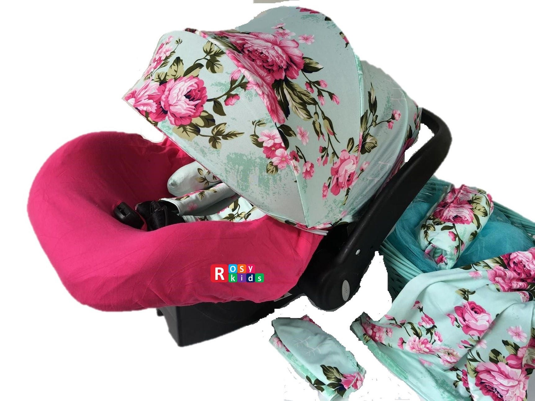 9pc Baby Boy Baby Girl Ultimate Set Of Infant Car Seat Cover