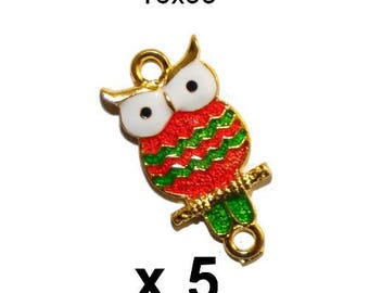 5 connectors OWL OWL metal enamel gold green red gold