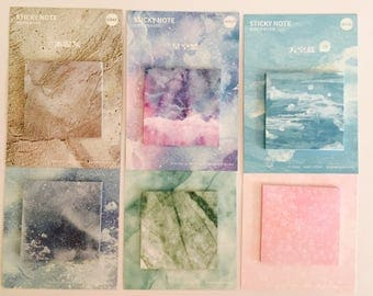 Watercolor Sticky Note Pads in 6 Designs