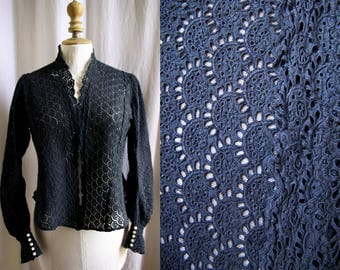 Antique blouse,hand stitched, color charcoal grey , embroideries, cotton, 1900's