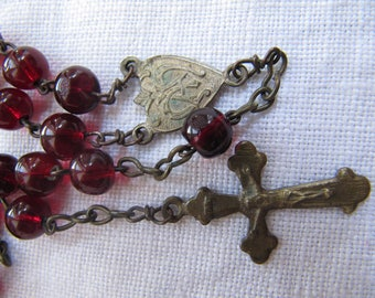 Vintage Rosary , red glass beads