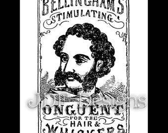 Instant Digital Download, Vintage Victorian Graphic, Men's Hair & Whiskers Ad Advertisement Antique Printable Image Steampunk Typography