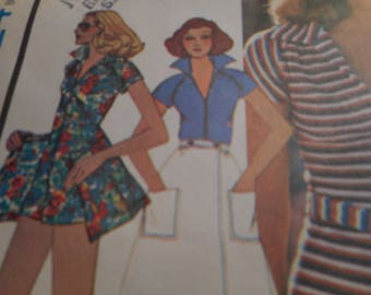 Vintage 1970's  McCall's 4524 Jumpsuit and Skirt Sewing Pattern Size 8 Bust 31.5