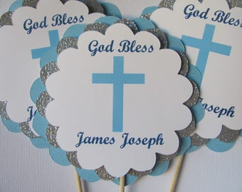 Baptism decorations etsy baptism centerpieces boys baptism centerpiece sticks baptism decorations blue and silver baptism sciox Image collections